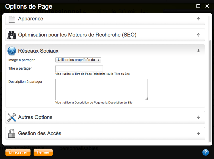 Les options de page iPaoo v1