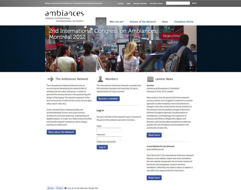 La page d'accueil du site Ambiances
