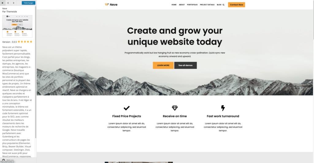 Exemple de thème WordPress gratuit