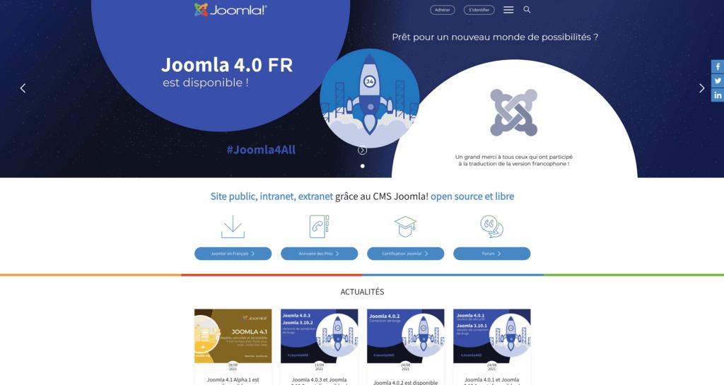 Page d'accueil du site https://www.joomla.fr/